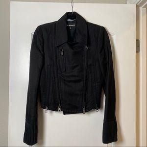 Ann Demeulemeester black asymmetrical zip jacket